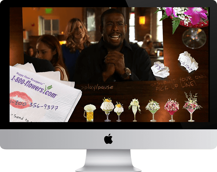 1-800-flowers.com interactive flash video, comedy, chuck nice, laurie Kilmartin, pick-up lines, success