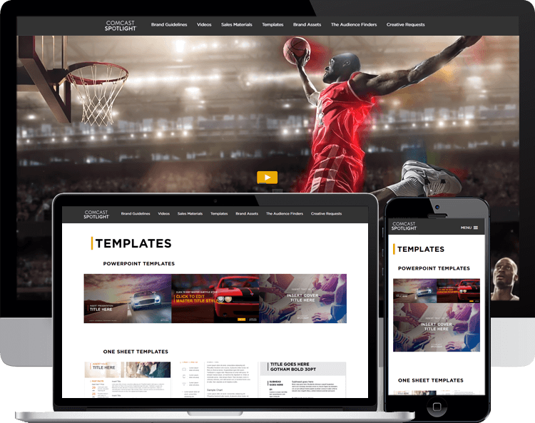 Comcast Spotlight brand resource directory wordpress template redesign
