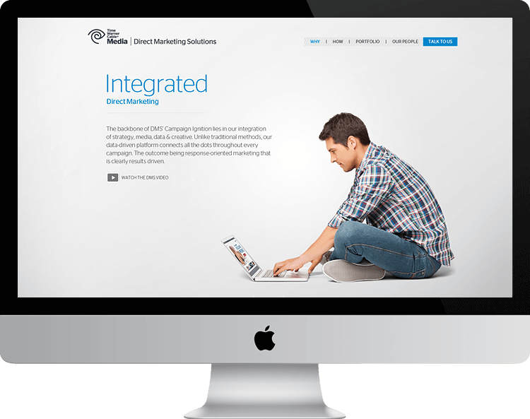 Time Warner Cable-Direct Marketing Solutions parallax website B2B integrated marketing man on laptop HTML5